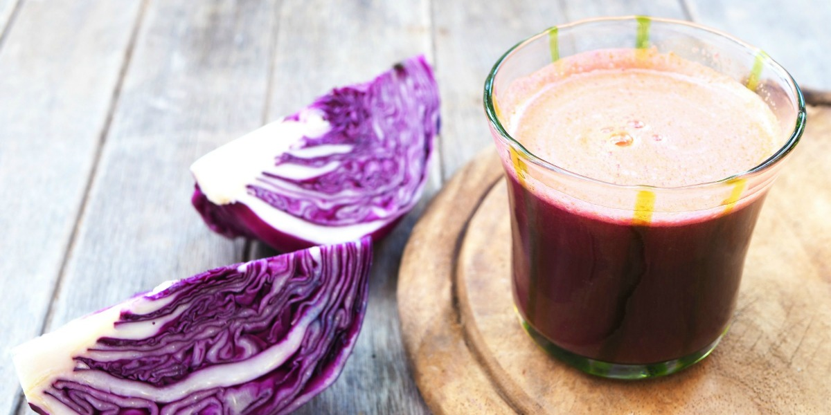 Cabbage Pineapple Drink Recipe, red cabbage, pineapple